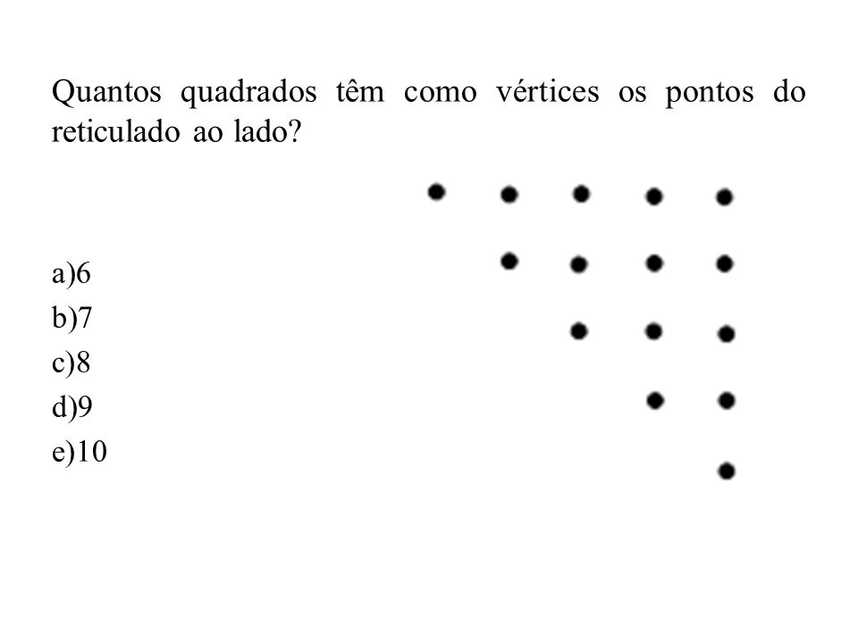 Quantos quadrados têm como vértices os pontos do reticulado ao lado