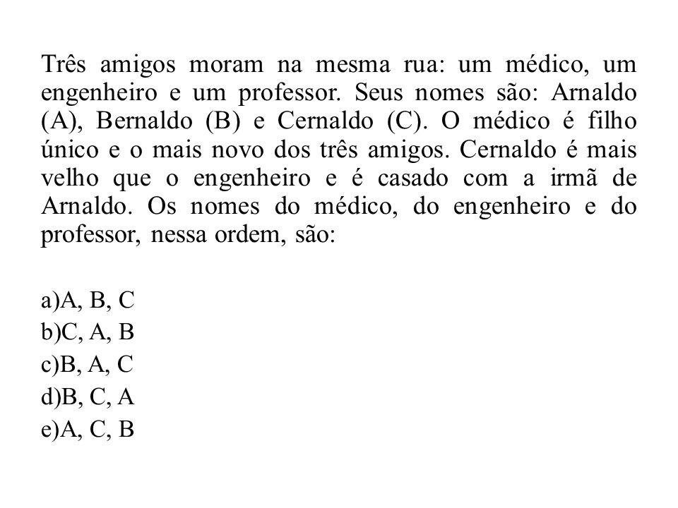 Três amigos moram na mesma rua: um médico, um engenheiro e um professor. Seus nomes são: Arnaldo (A), Bernaldo (B) e Cernaldo (C). O médico é filho único e o mais novo dos três amigos. Cernaldo é mais velho que o engenheiro e é casado com a irmã de Arnaldo. Os nomes do médico, do engenheiro e do professor, nessa ordem, são: