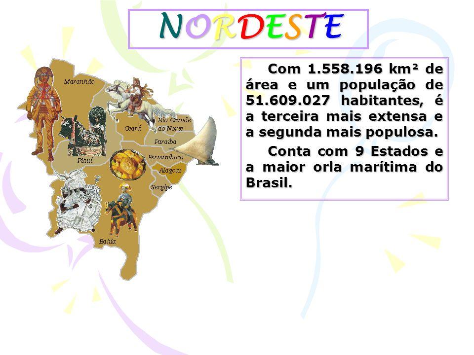 NORDESTE Com 1.558.196 km² de área e um população de 51.609.027 habitantes, é a terceira mais extensa e a segunda mais populosa.