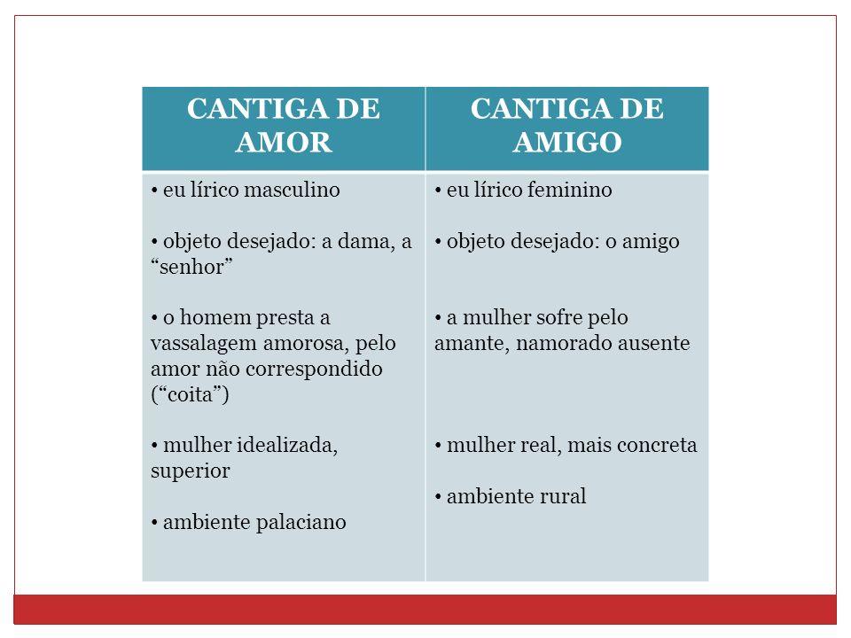 CANTIGA DE AMOR CANTIGA DE AMIGO