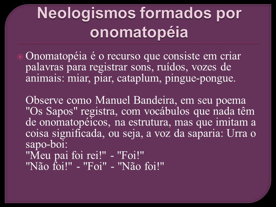 Neologismos formados por onomatopéia