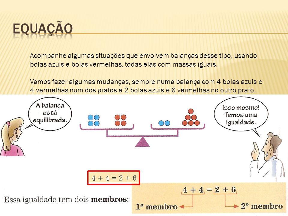 Equação Acompanhe algumas situações que envolvem balanças desse tipo, usando bolas azuis e bolas vermelhas, todas elas com massas iguais.