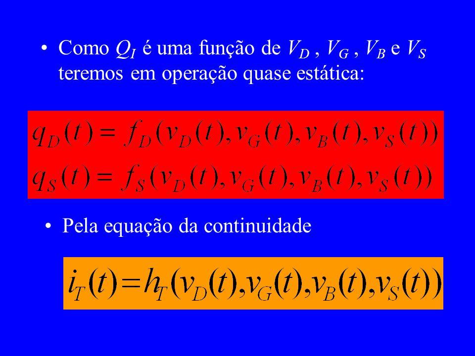 Como QI é uma função de VD , VG , VB e VS teremos em operação quase estática: