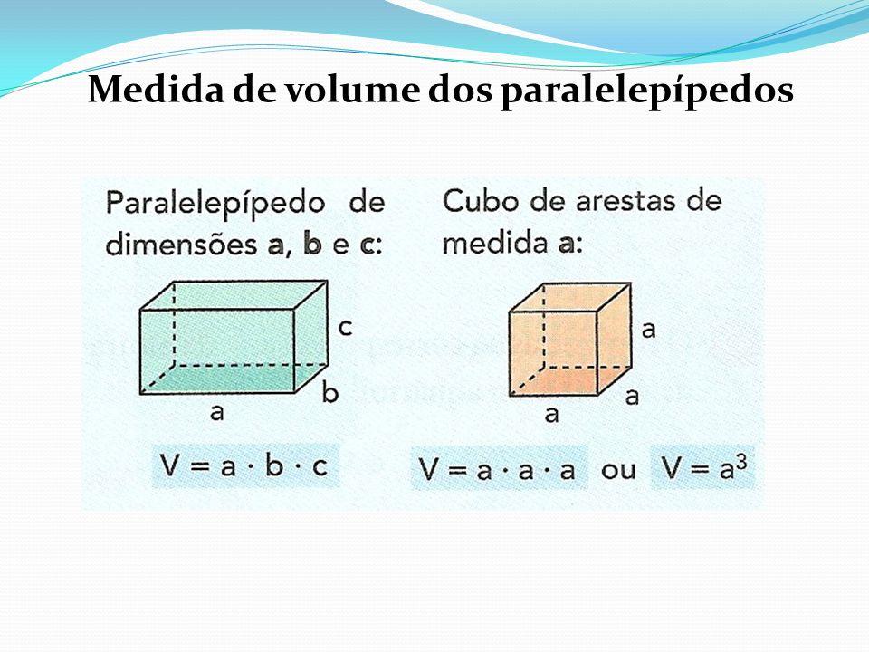 Medida de volume dos paralelepípedos