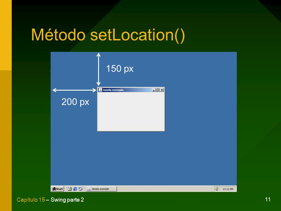 Método setLocation() 150 px 200 px