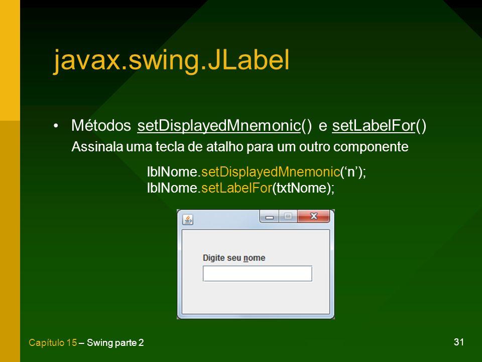 javax.swing.JLabel Métodos setDisplayedMnemonic() e setLabelFor()