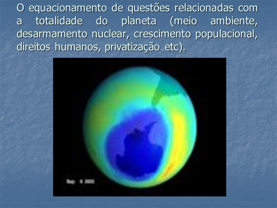 O equacionamento de questões relacionadas com a totalidade do planeta (meio ambiente, desarmamento nuclear, crescimento populacional, direitos humanos, privatização etc).