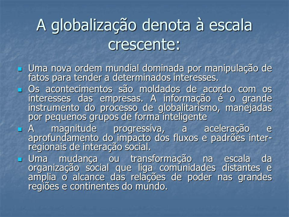 A globalização denota à escala crescente: