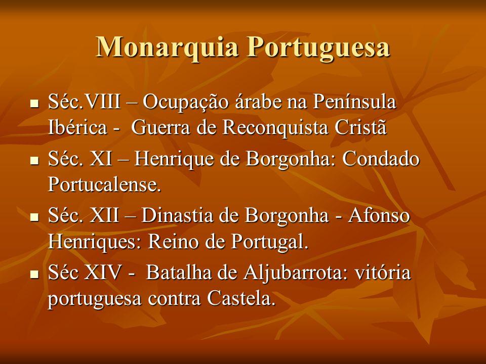 Monarquia Portuguesa Séc.VIII – Ocupação árabe na Península Ibérica - Guerra de Reconquista Cristã.