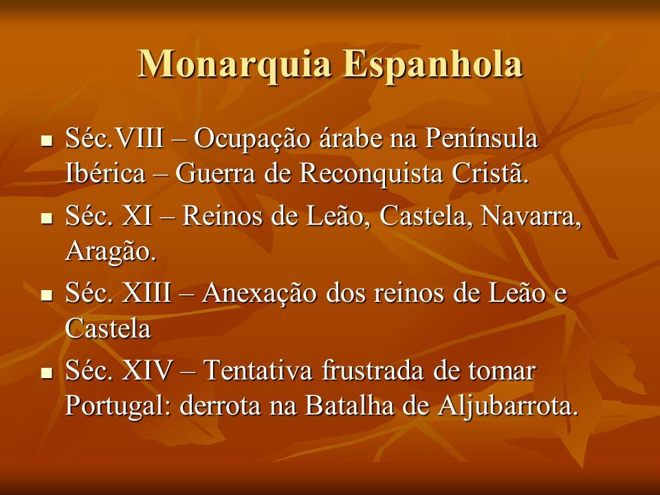 Monarquia Espanhola Séc.VIII – Ocupação árabe na Península Ibérica – Guerra de Reconquista Cristã.