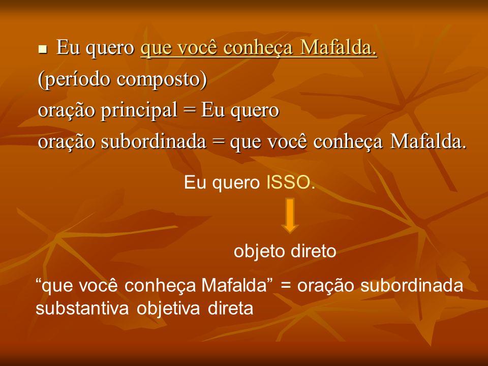 Eu quero que você conheça Mafalda. (período composto)