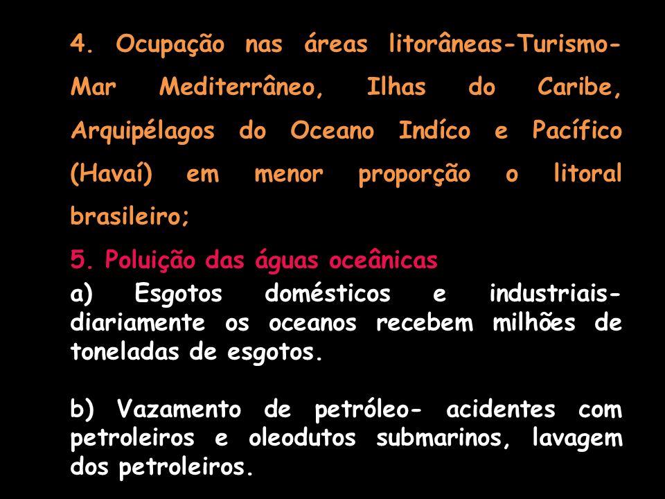 4. Ocupação nas áreas litorâneas-Turismo- Mar Mediterrâneo, Ilhas do Caribe, Arquipélagos do Oceano Indíco e Pacífico (Havaí) em menor proporção o litoral brasileiro;