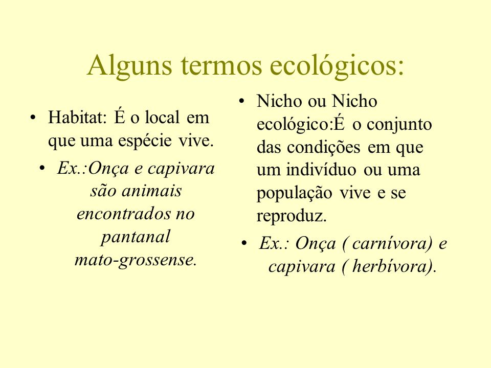 Alguns termos ecológicos: