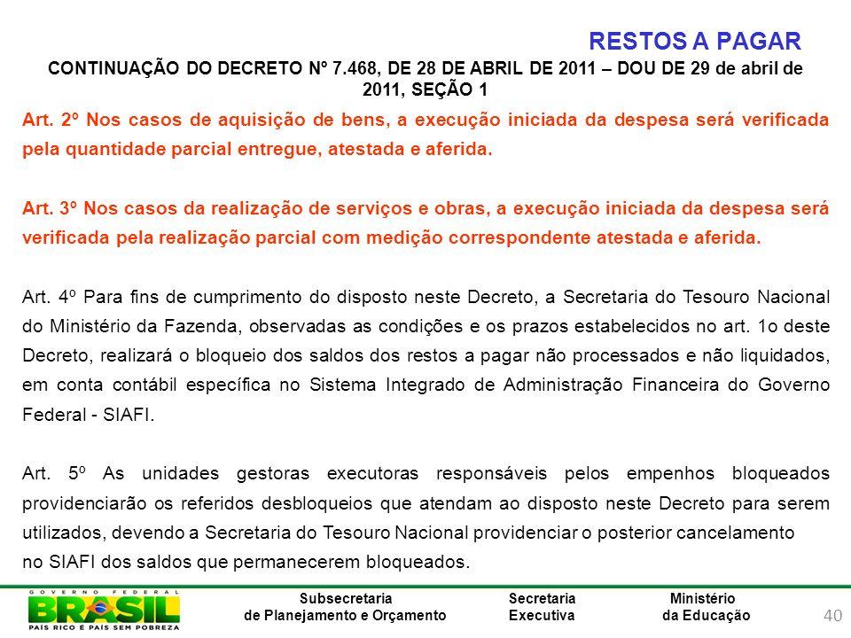 RESTOS A PAGAR CONTINUAÇÃO DO DECRETO Nº 7.468, DE 28 DE ABRIL DE 2011 – DOU DE 29 de abril de 2011, SEÇÃO 1.