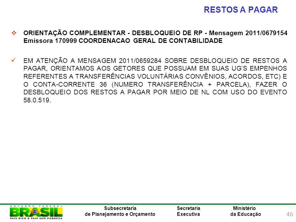 RESTOS A PAGAR ORIENTAÇÃO COMPLEMENTAR - DESBLOQUEIO DE RP - Mensagem 2011/0679154 Emissora 170999 COORDENACAO GERAL DE CONTABILIDADE.