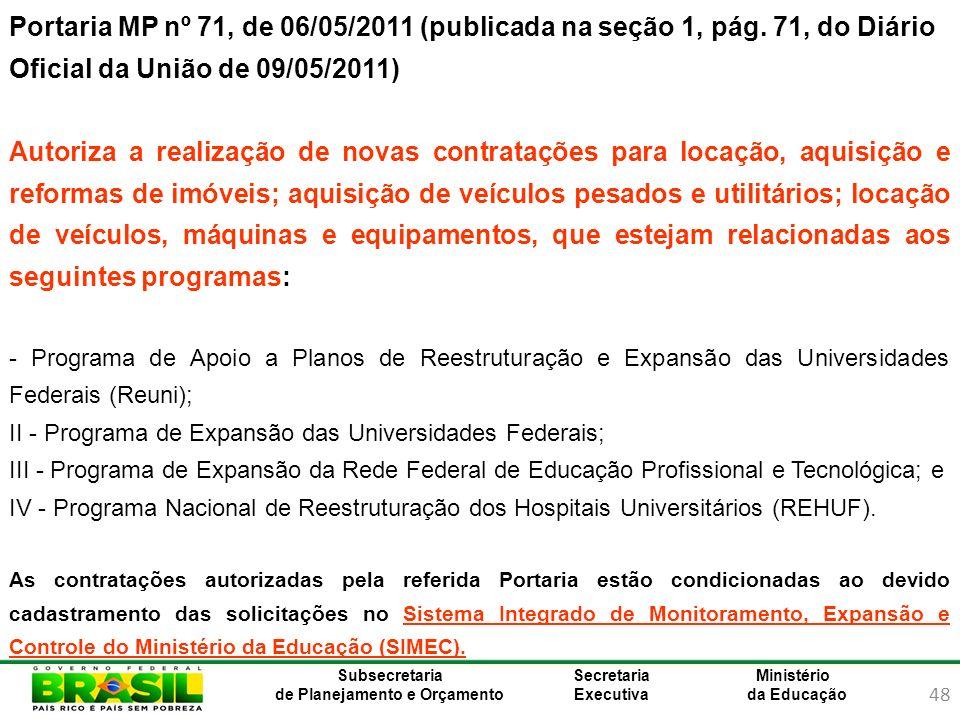 Portaria MP nº 71, de 06/05/2011 (publicada na seção 1, pág