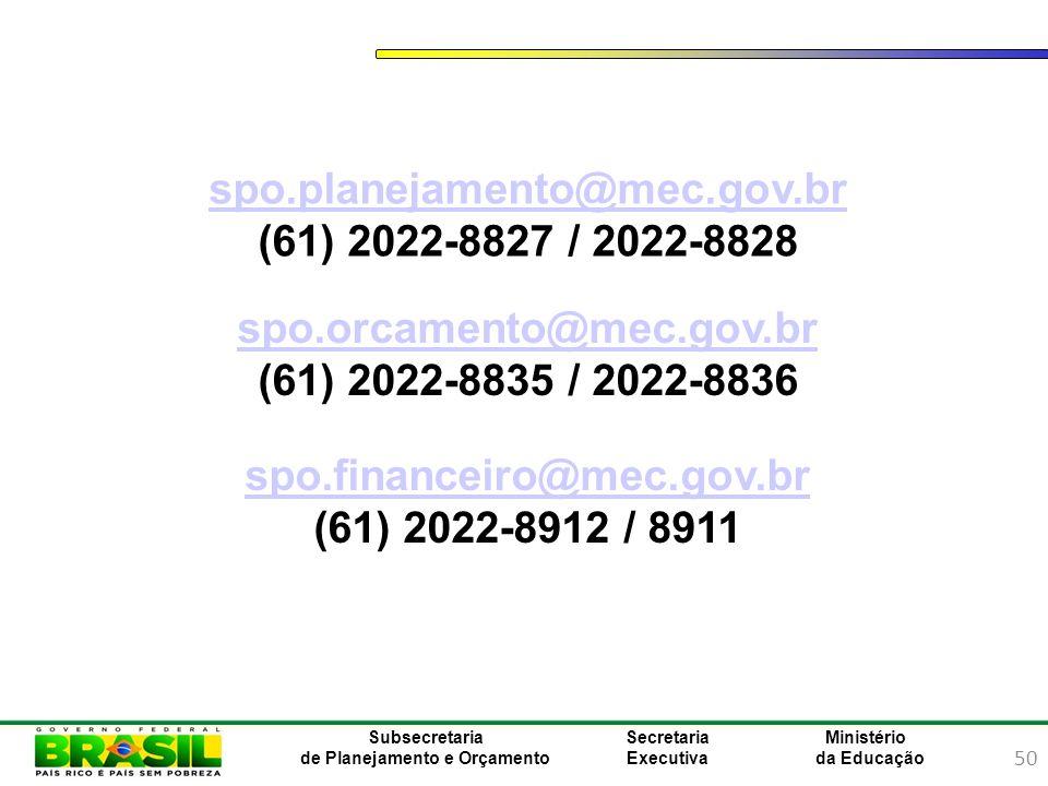 spo.planejamento@mec.gov.br (61) 2022-8827 / 2022-8828. spo.orcamento@mec.gov.br. (61) 2022-8835 / 2022-8836.