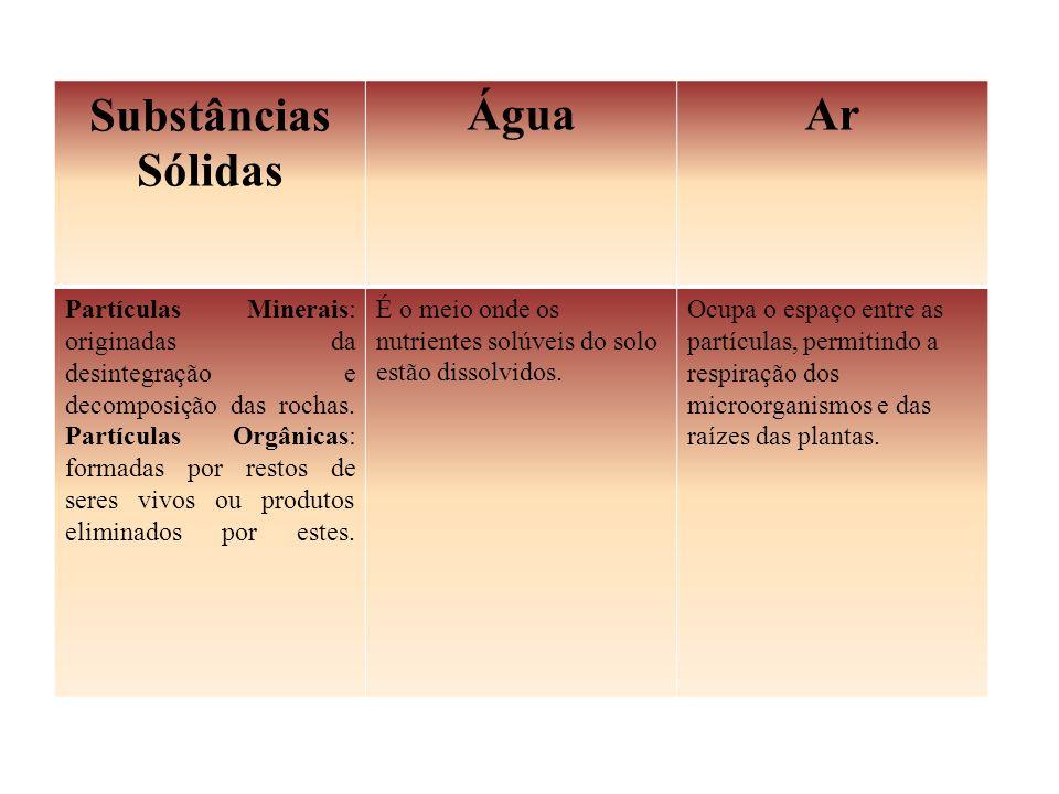 Substâncias Sólidas Água Ar