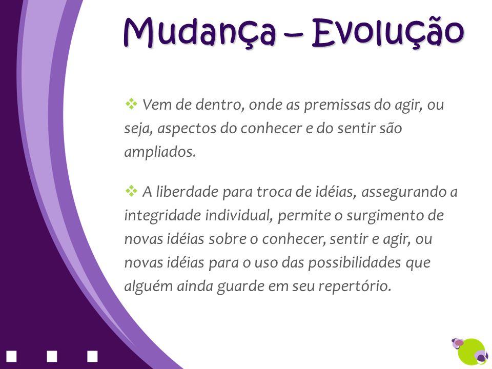 Mudança – Evolução Vem de dentro, onde as premissas do agir, ou seja, aspectos do conhecer e do sentir são ampliados.