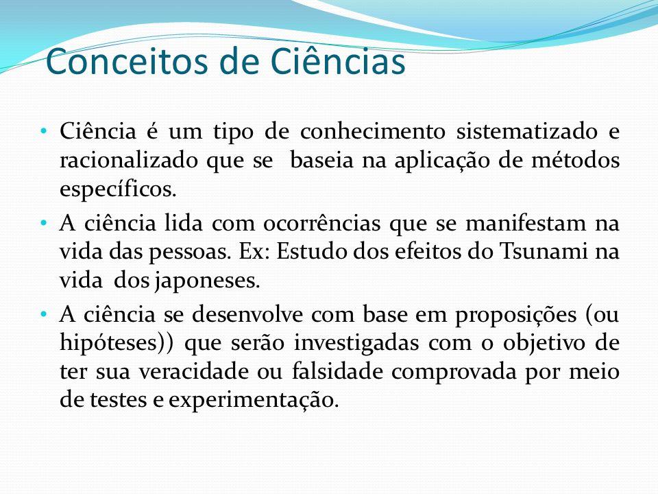 Conceitos de Ciências Ciência é um tipo de conhecimento sistematizado e racionalizado que se baseia na aplicação de métodos específicos.