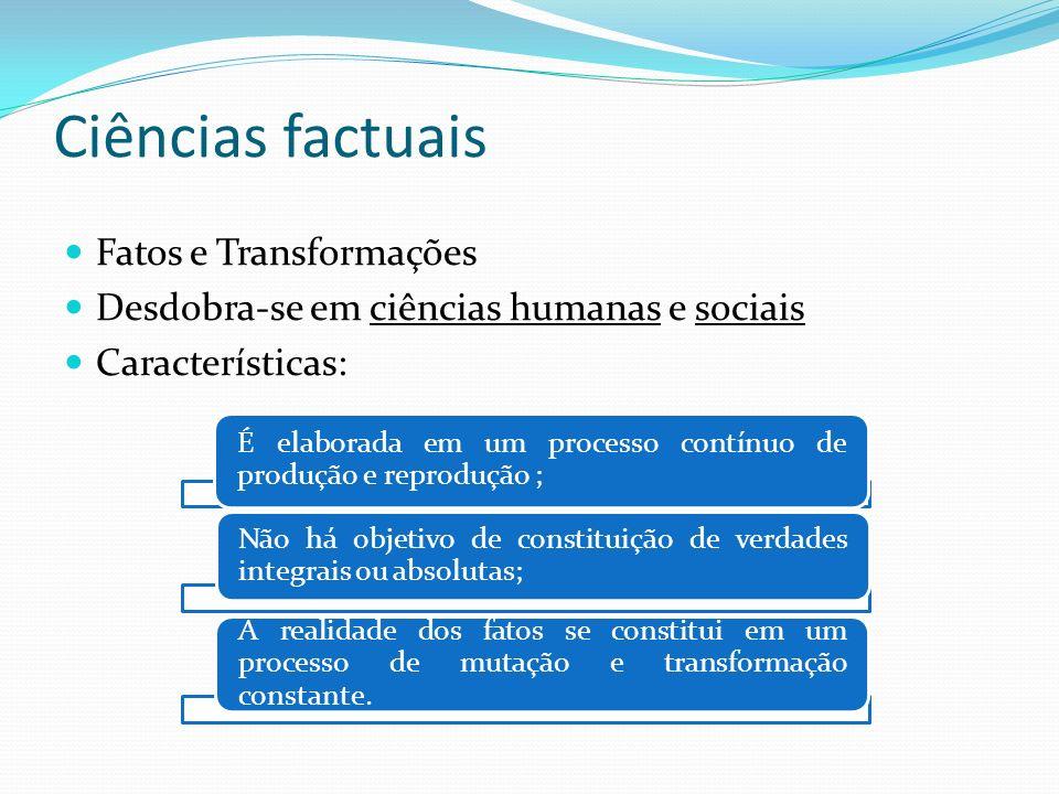 Ciências factuais Fatos e Transformações