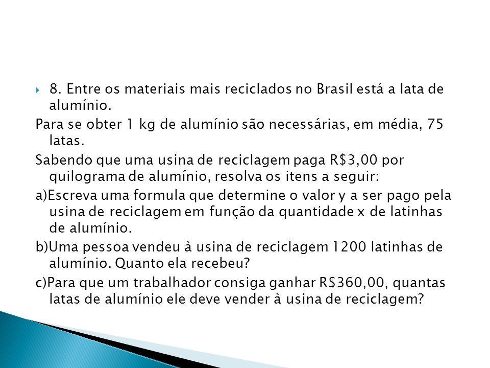 8. Entre os materiais mais reciclados no Brasil está a lata de alumínio.