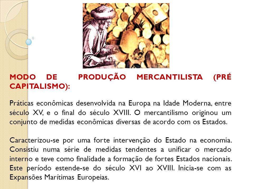 MODO DE PRODUÇÃO MERCANTILISTA (PRÉ CAPITALISMO):