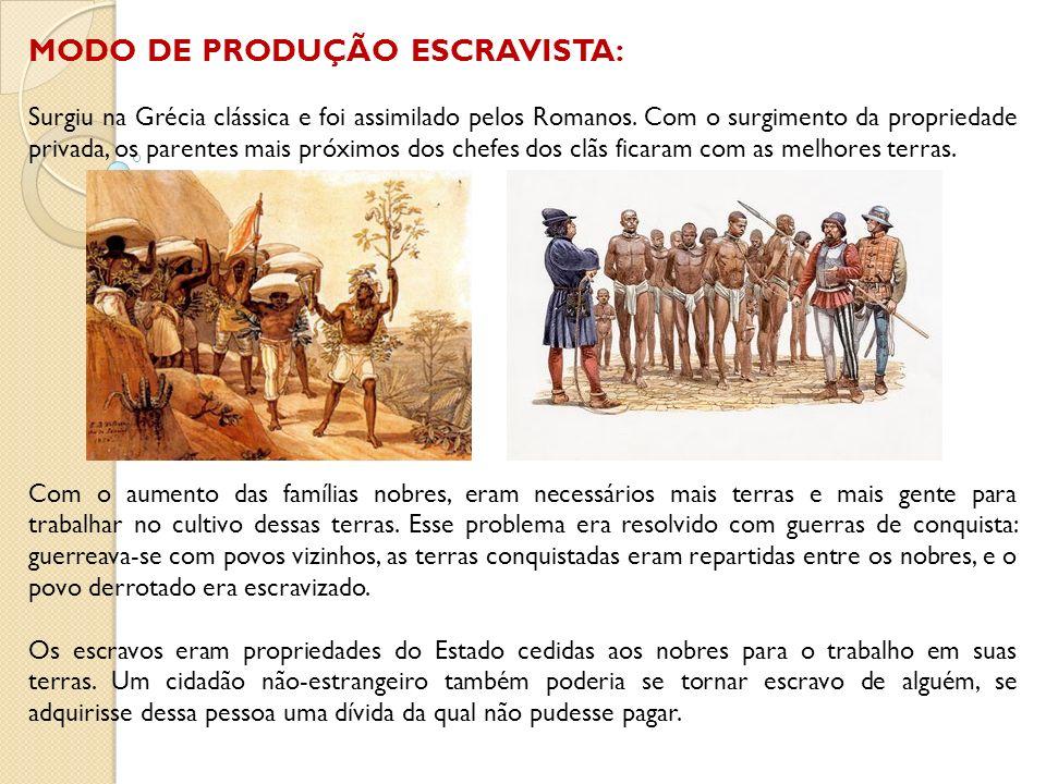 MODO DE PRODUÇÃO ESCRAVISTA: