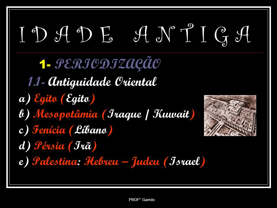 I D A D E A N T I G A 1- PERIODIZAÇÃO 1.1- Antiguidade Oriental
