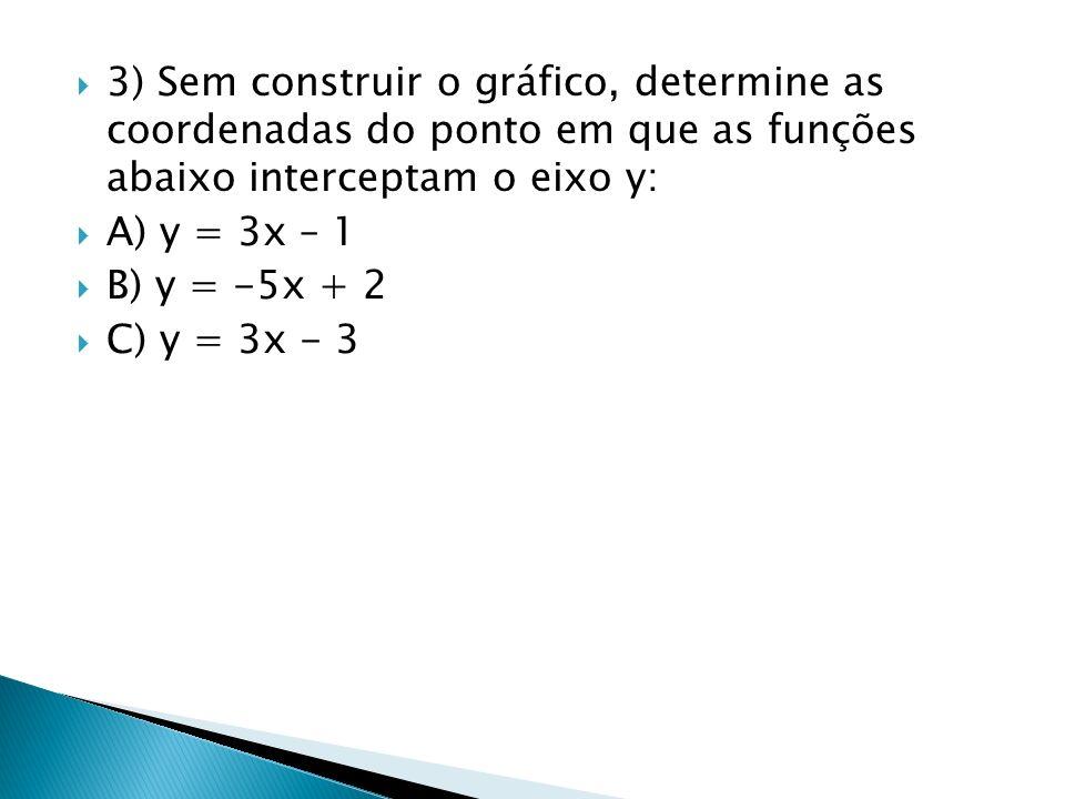3) Sem construir o gráfico, determine as coordenadas do ponto em que as funções abaixo interceptam o eixo y: