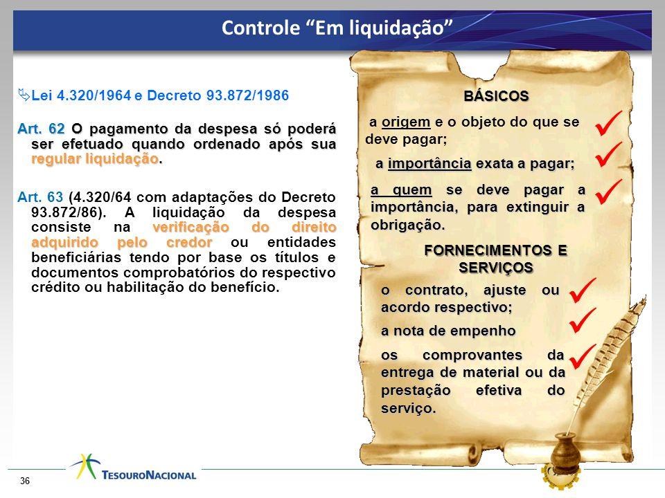 Controle Em liquidação FORNECIMENTOS E SERVIÇOS