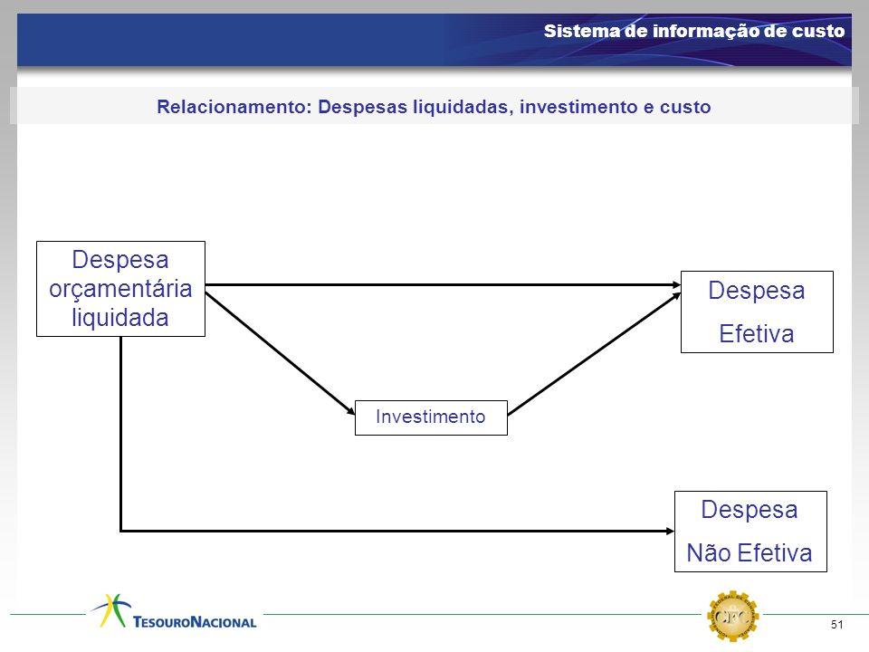 Relacionamento: Despesas liquidadas, investimento e custo