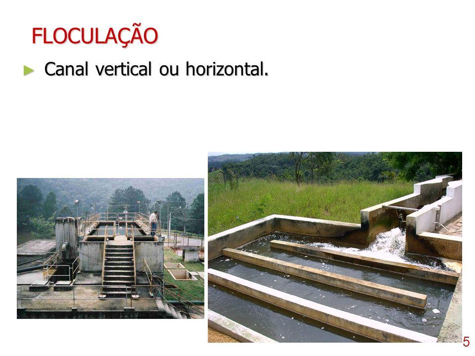 FLOCULAÇÃO Canal vertical ou horizontal.
