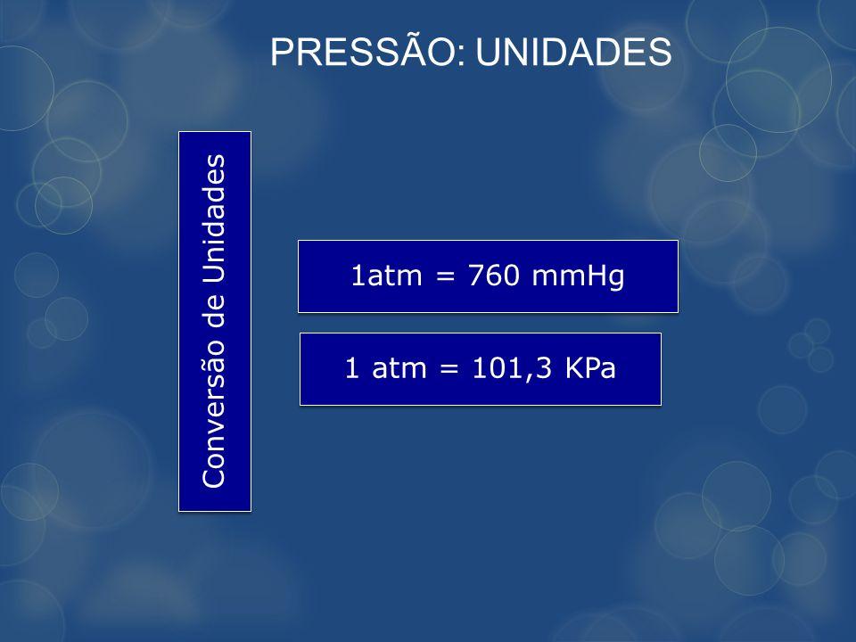 PRESSÃO: UNIDADES Conversão de Unidades 1atm = 760 mmHg