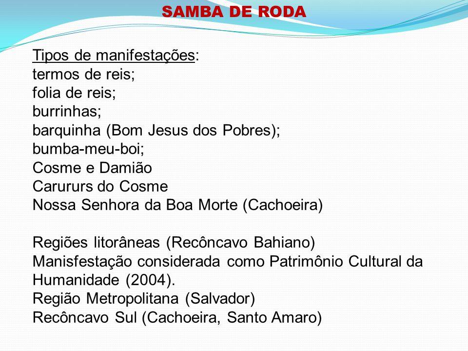 SAMBA DE RODA Tipos de manifestações: termos de reis; folia de reis; burrinhas; barquinha (Bom Jesus dos Pobres);