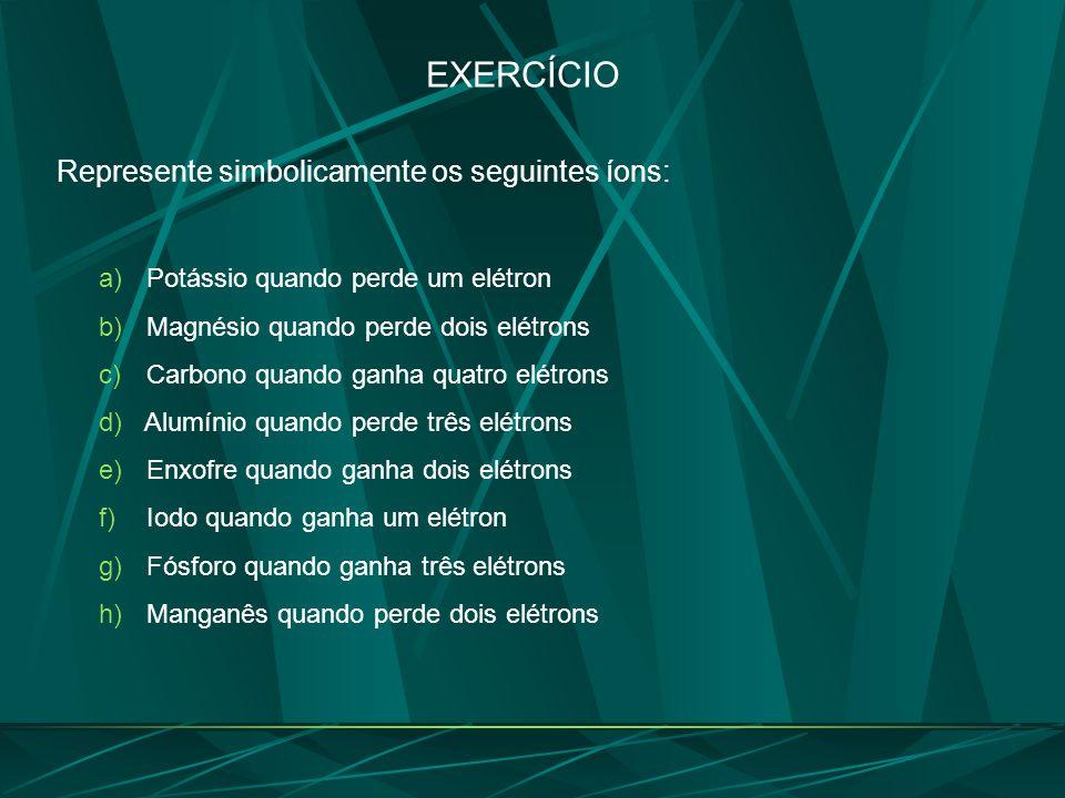 EXERCÍCIO Represente simbolicamente os seguintes íons: