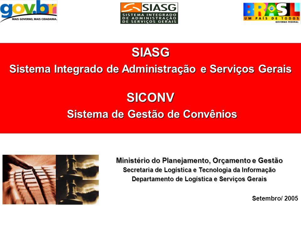 SIASG SICONV Sistema Integrado de Administração e Serviços Gerais