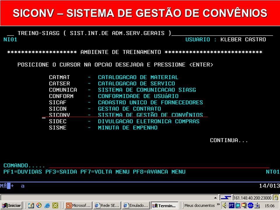 SICONV – SISTEMA DE GESTÃO DE CONVÊNIOS