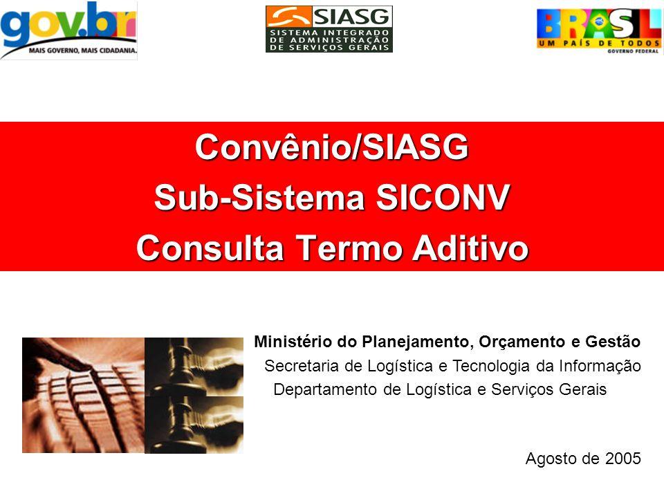 Convênio/SIASG Sub-Sistema SICONV Consulta Termo Aditivo