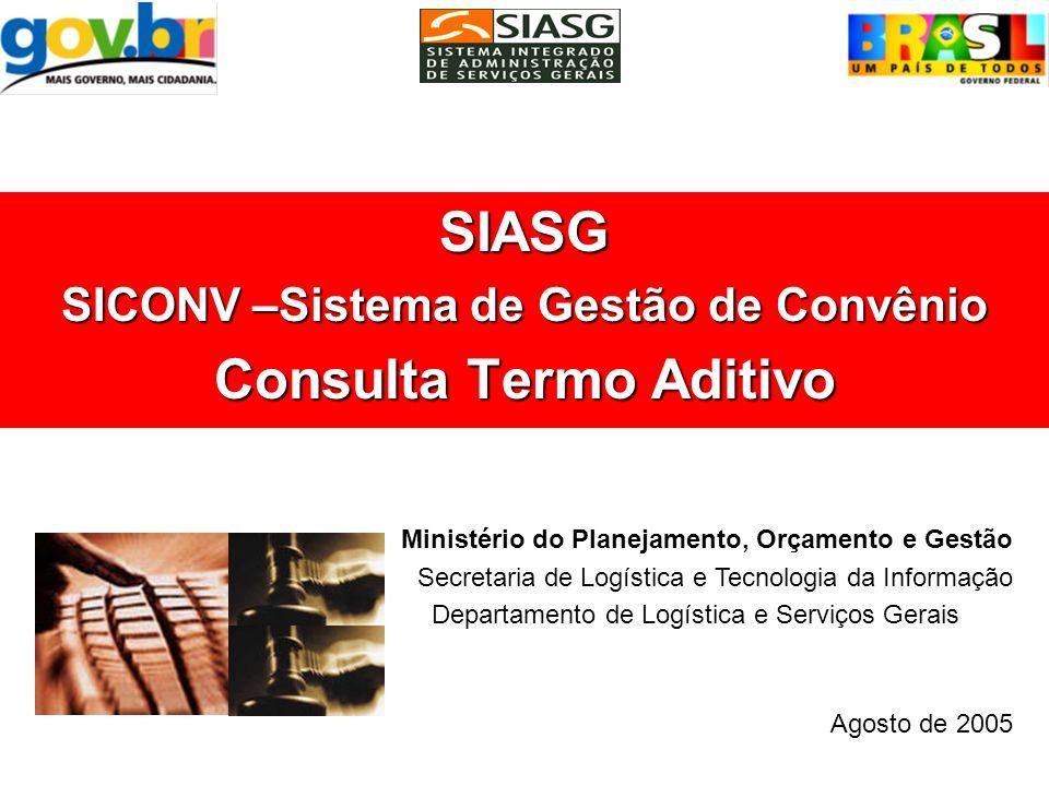 SIASG SICONV –Sistema de Gestão de Convênio Consulta Termo Aditivo