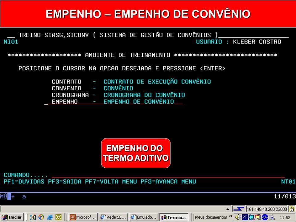 EMPENHO – EMPENHO DE CONVÊNIO