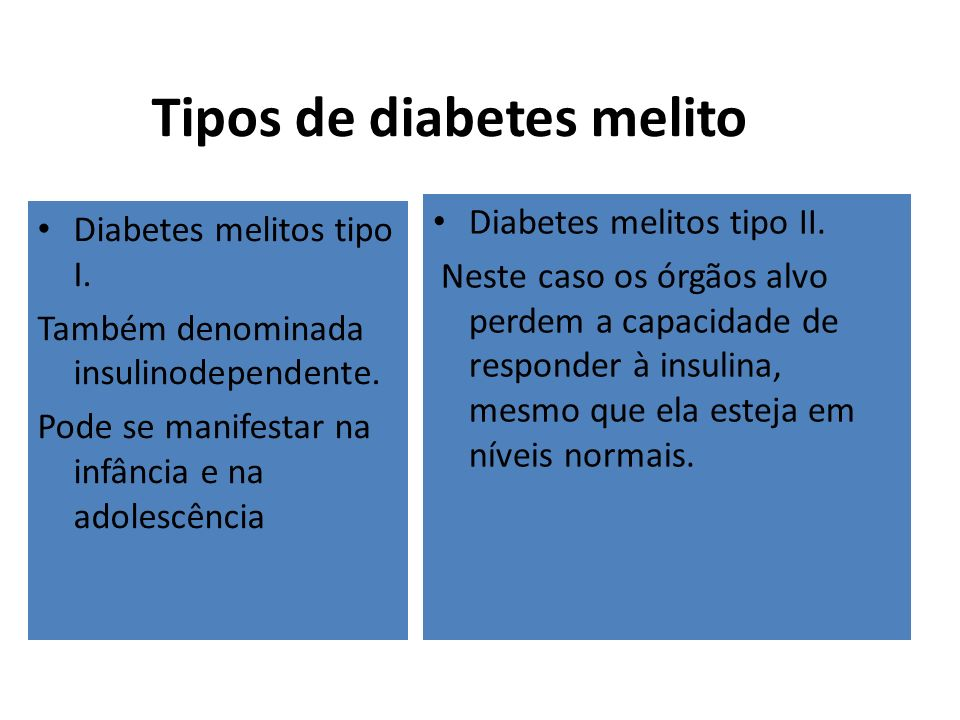 Tipos de diabetes melito