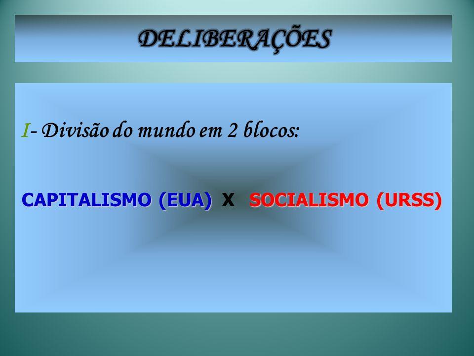 DELIBERAÇÕES I- Divisão do mundo em 2 blocos: CAPITALISMO (EUA)