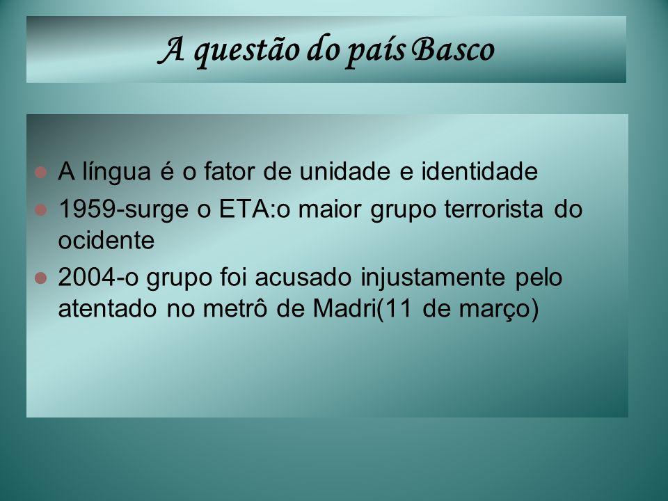 A questão do país Basco A língua é o fator de unidade e identidade