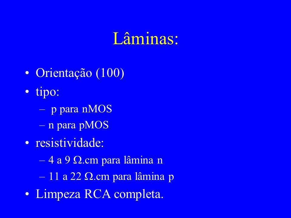 Lâminas: Orientação (100) tipo: resistividade: Limpeza RCA completa.