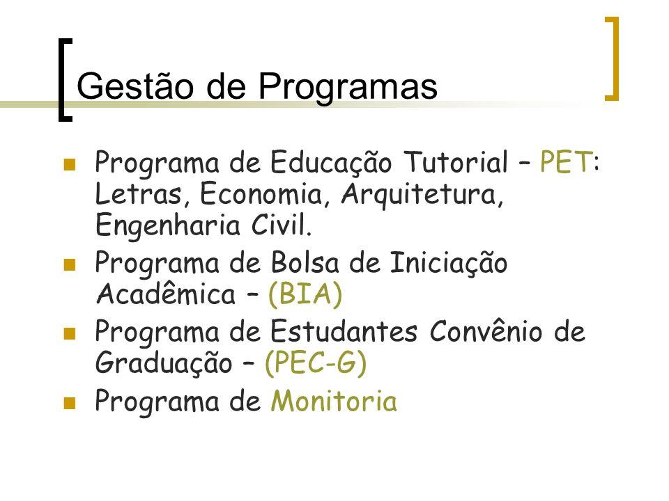 Gestão de Programas Programa de Educação Tutorial – PET: Letras, Economia, Arquitetura, Engenharia Civil.