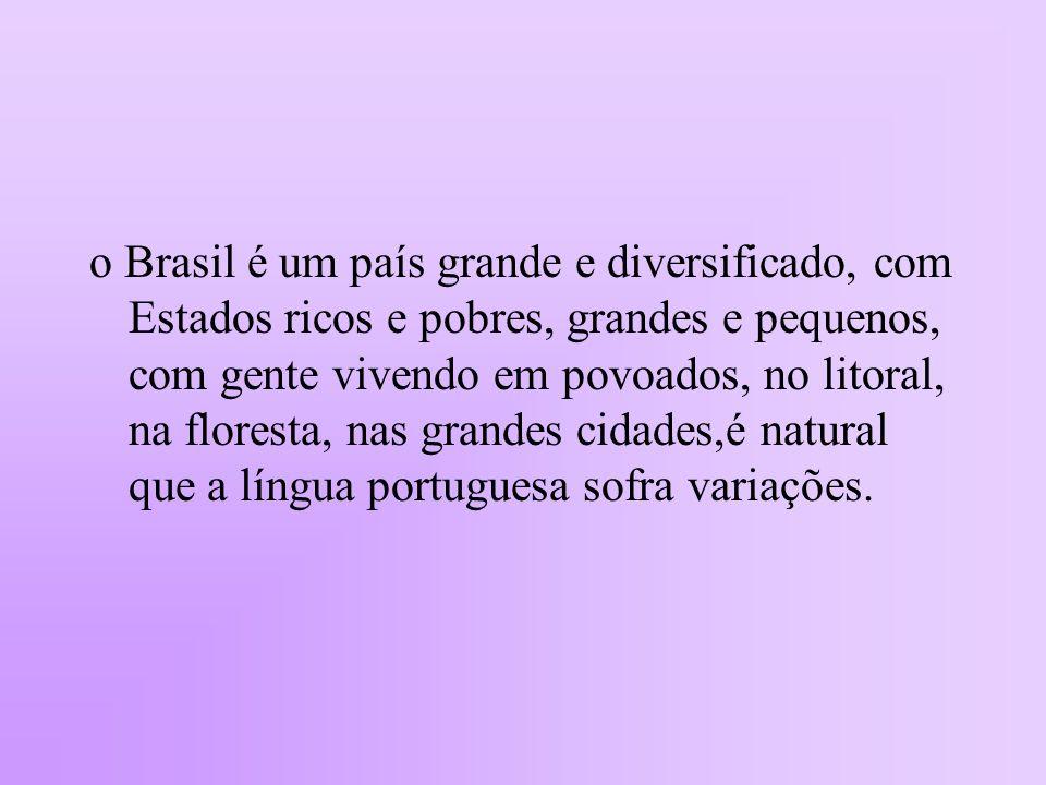 o Brasil é um país grande e diversificado, com Estados ricos e pobres, grandes e pequenos, com gente vivendo em povoados, no litoral, na floresta, nas grandes cidades,é natural que a língua portuguesa sofra variações.