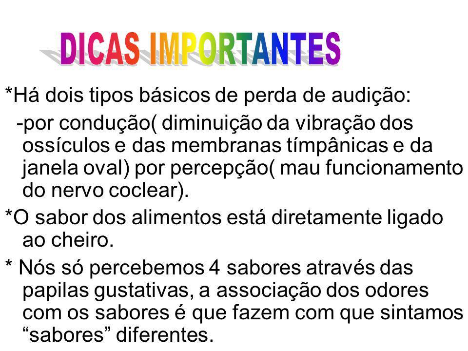 DICAS IMPORTANTES *Há dois tipos básicos de perda de audição: