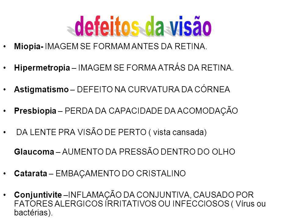 defeitos da visão Miopia- IMAGEM SE FORMAM ANTES DA RETINA.