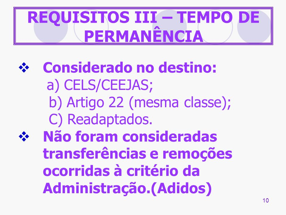 REQUISITOS III – TEMPO DE PERMANÊNCIA